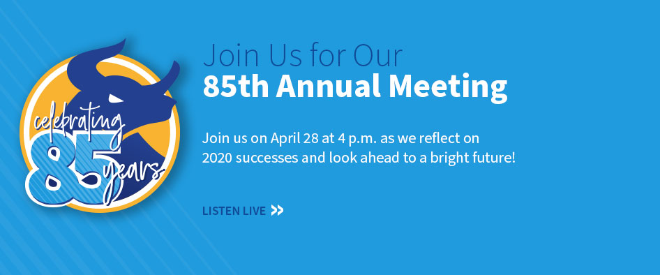 Celebrating 85 Years. Join Us for Our 85th Annual Meeting. Join us on April 28 at 4 p.m. as we reflect on 2020 successes and look ahead to a bright future! Listen Live.